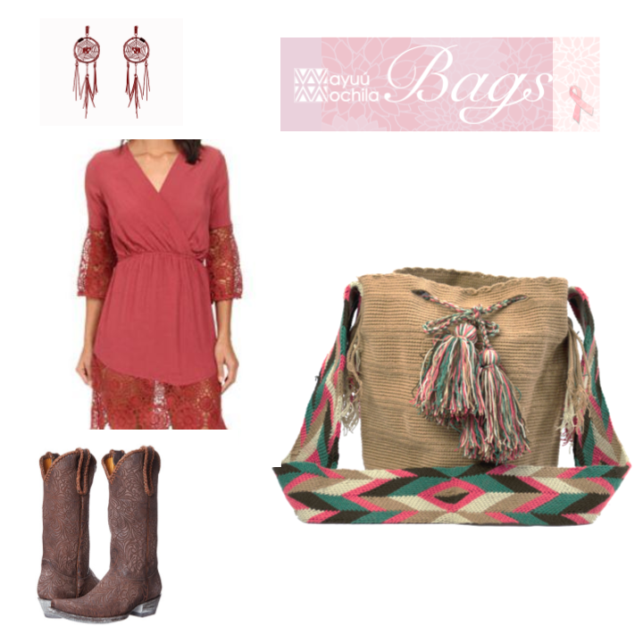 An outfit inspiration picture collage pairing a solid color beige Wayuu Bag with a pink, blue, beige and brown arrow patterned strap with a red lacy dress, rose brown cowboy boots and dream catcher inspired earrings